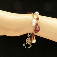 Mother of Pearl Bracelet, Chocolate Coloured Nuggets with White Potato Pearls