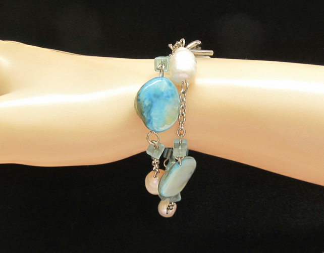 Turquoise Blue Mother of Pearl Bracelet, Shell Nuggets and White Potato Pearls