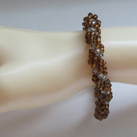 Slimline Bracelet: Amber Coloured & Clear Silver Lined Seed Beads, Spiral Weave