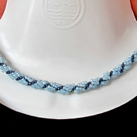 Slimline Choker of Light Blue, Silver Lined & Hematite Seed Beads Rope Necklace