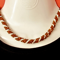 Slimline Choker: Amber Coloured & White Seed Beads in a Spiral Weave