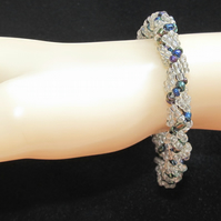 Slimline Bracelet: Clear Silver-lined & Multi-Metalic Seed Beads in Spiral Weave