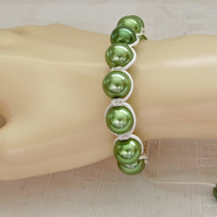 Shamballa Style, Macramé, Friendship Bracelet with Green Glass Pearls