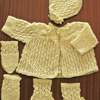 Hand Knitted Newborn Baby Set, Yellow Matinee Jacket, Bonnet, Mittens & Booties