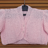 Baby Clothes: Hand Knitted Beautiful Pink Short Sleeved Bolero Cardigan