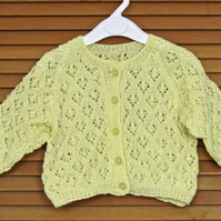 "Baby Clothes: Hand Knitted Toddler's Yellow Diamond Patterned Cardigan (26"".66cm"