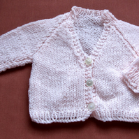 "Hand Knitted Baby Pink Matinee Coat, Newborn or Doll (15"", 38cm chest)"