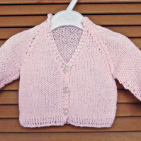 "Newborn Hand Knitted Pink Baby Matinee Cardigan,  (15"", 38cm chest)"