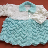 "Turquoise & White Hand Knitted Baby Matinee Coat (20"", 50.5cm chest)"