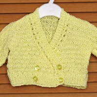Hand Knitted Sunshine Yellow Double Front Baby Bolero, Shrug, Matinee, Cardigan