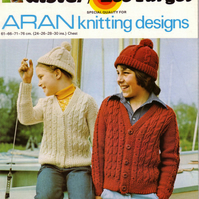 Vintage Knitting Pattern K672: from Lister Lee, Aran Cardigan and Beanie