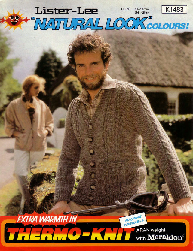 Vintage Knitting Pattern K1483: from Lister Lee, Aran Cardigan