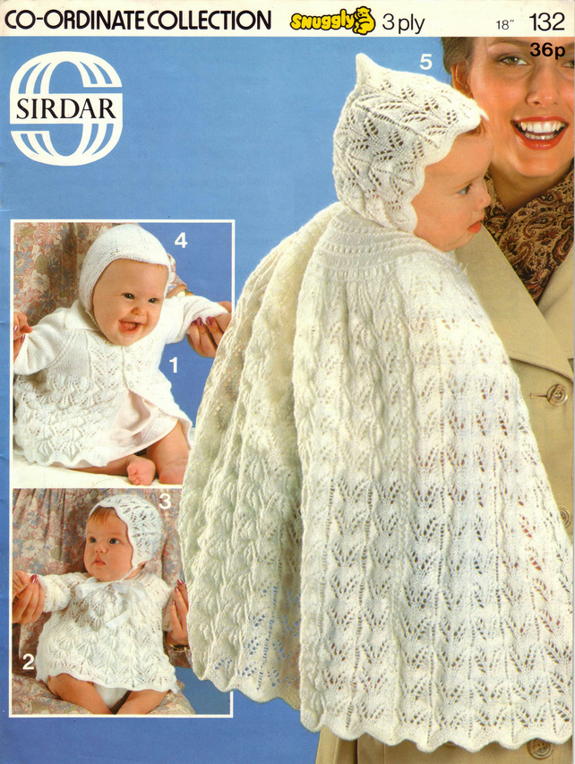 Vintage Knitting Pattern 132: Sirdar,  five 3 ply patterns for Babies