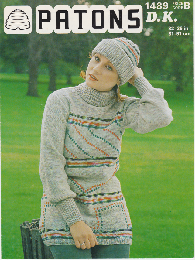 Vintage Knitting Pattern B1489: Patons, Bold Patterned Sweater and Hat