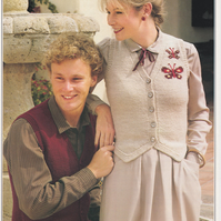 Vintage Knitting Pattern B1867: from Patons, Unisex Waistcoat with Intarsia