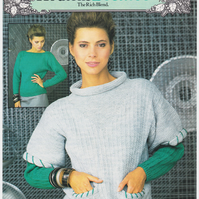 Vintage Knitting Pattern B7319: Patons Sweater and Over Vest,