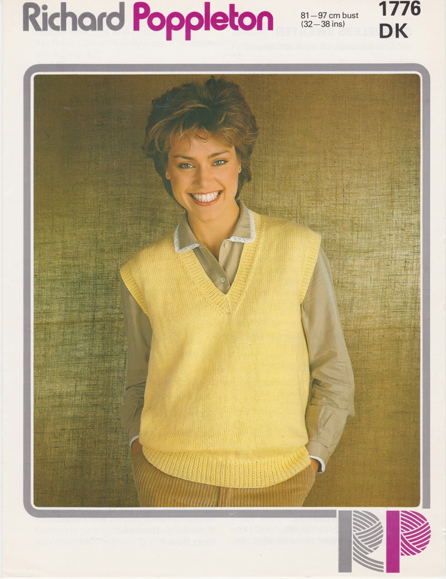 Vintage Knitting Paper Pattern 1776 Richard Poppleton Double Knit Vest
