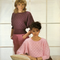 Vintage Knitting Pattern 1882: from Richard Poppleton, Lacy Batwing Sweater
