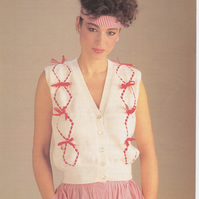 Vintage Knitting Pattern 1848: Richard Poppleton Woman's Waistcoat, Ribbons