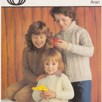 Vintage Knitting Pattern 4289: from Sirdar, 3 Aran Children's Sweaters
