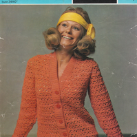 Vintage Crochet Pattern  5047: from Sirdar,  Lacy Cardigan
