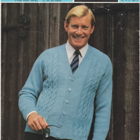 Vintage Knitting Pattern 2469: from Sirdar, Man's Cabled Cardigan