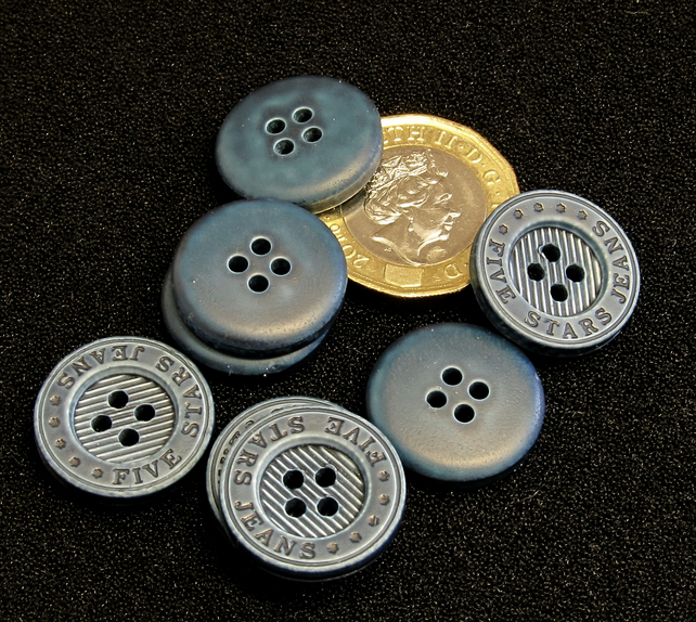 Vintage Buttons: Blue Ridged 'Five Star Jeans' 8x18mm