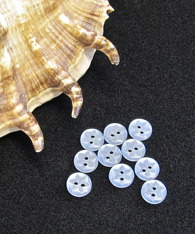 Vintage Buttons: Light Blue, 'Star' Patterned 10x 10mm