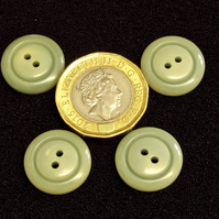 Vintage Buttons: Light Olive Green 2x holes, 4x 16mm