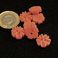 Vintage Buttons: Dark Peach 6x Petal Flower 7x 14mm