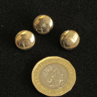 Vintage Buttons: 'Bronze'-like Flat Cabochon Metal Shank 3x11mm