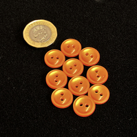 Vintage Buttons: Orange, Domed, Small 10x 14mm