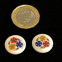 Vintage Buttons: Red, Yellow and Blue Flowers on White 2x 17mm