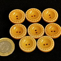 Vintage Orange Buttons: Orange 'Pie Crust' Décor 8x 20mm
