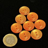 Vintage Buttons: Orange, Domed, Medium 8x 19mm