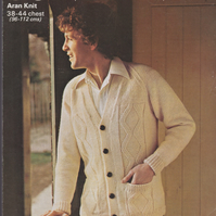 Vintage Knitting Pattern 185: SUNBEAM, Man's Aran Patterned Cardigan