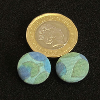 Vintage Buttons: Blue and Green fabric buttons 2x 14mm