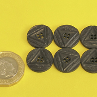 Vintage Buttons: Black Triangle Geometric Deco -esque 6x17mm