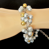 Cluster Bracelet with Light Blue & Golden Glass Pearls, Bridal Jewellery