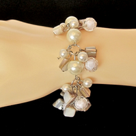 Cream Glass Pearls, Mother of Pearl Nuggets & White Beads Cluster Bracelet
