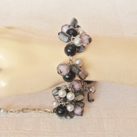 Black & Ice Blue Glass Pearls, Smoky Beads & Mother of Pearl Cluster Bracelet