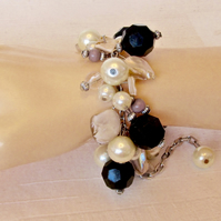 Black Facetted, Purple Agate & Cream Mother of Pearl Cluster Bracelet