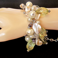 Cream Mother of Pearl Bracelet, Glass Pearls, Green Spiral Glass & Purple Agate