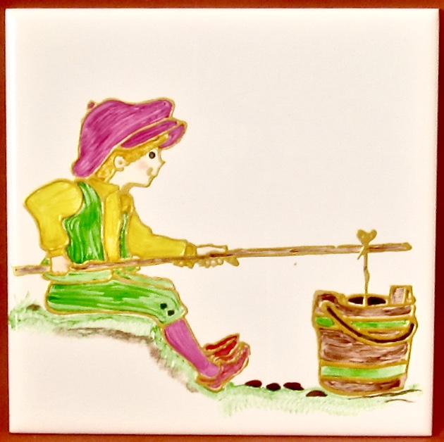 Hand Painted 'Jack, Fishing in a Bucket', 15cm square ceramic tile