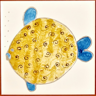 Hand Painted Golden Puffer Fish, 15cm square ceramic tile