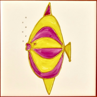 Hand Painted Pink & Gold fish, 15cm square ceramic tile