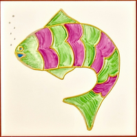 Hand Painted  Green & Pink Fish, 15cm square ceramic tile