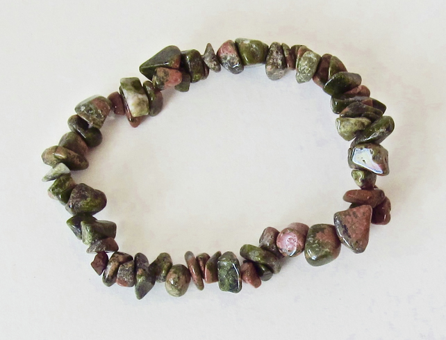 DESTASH:  Unakite Chip Bracelet