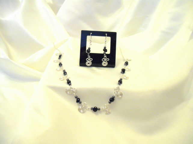 Sterling Silver & Onyx Swirl Set