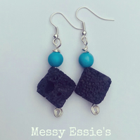 Turquoise and lava stone earrings